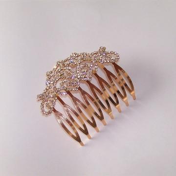 Preguadeira para noivas em ouro rosê e strass