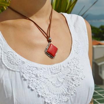 Gargantilha Coral Vermelho