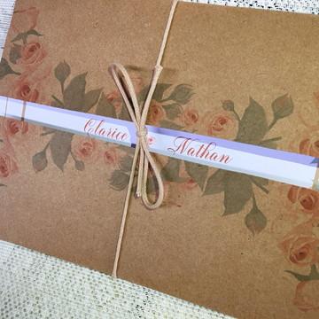 Convite de Casamento Rústico Floral II