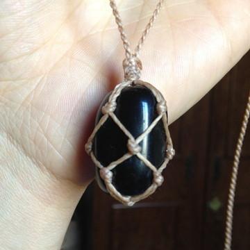 Colar Hippie Regulável Com Pedra Obsidiana Negra Rolada