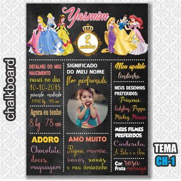 Chalkboard Digital - Tema Princesas - FRETE GRÁTIS