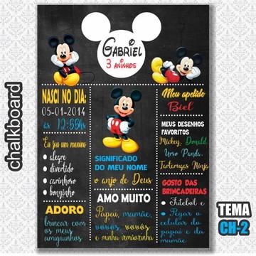 Chalkboard Digital - Tema Mickey - FRETE GRÁTIS
