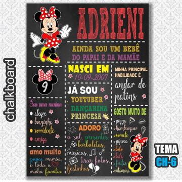 Chalkboard Digital - Tema Minnie Vermelha - FRETE GRÁTIS
