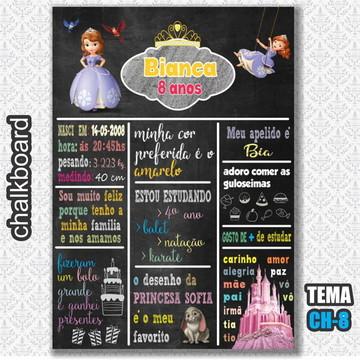 Chalkboard Digital - Tema Princesa Sofia - FRETE GRÁTIS