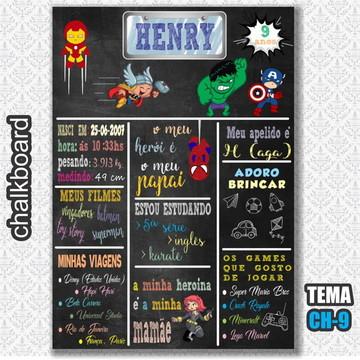 Chalkboard Digital - Tema Vingadores Cute - FRETE GRÁTIS