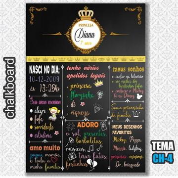 Chalkboard Digital - Tema Coroa Realeza - FRETE GRÁTIS