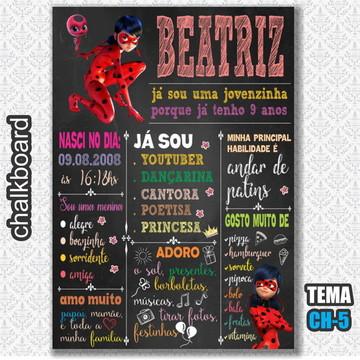 Chalkboard Digital - Tema LadyBug - FRETE GRÁTIS