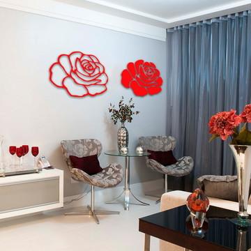 Escultura Rosa dupla aplique de parede