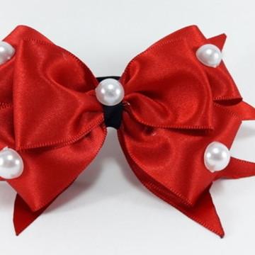 Xuxa Vermelha em Cetim Com Pérolas (Elastico para Cabelo)