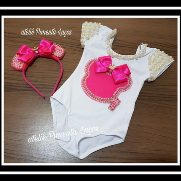 Collant Infantil tema Minnie Pink com Tiara