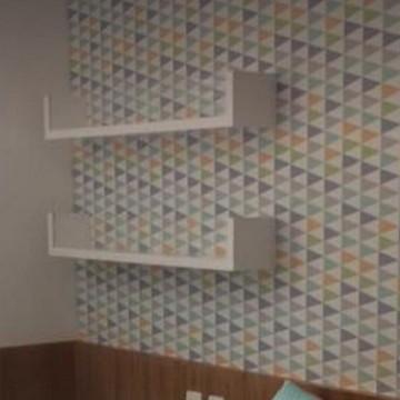 Kit com 02 Prateleiras decorativas em U com acrilico 80 cm