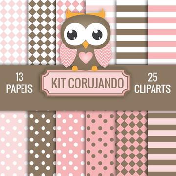 KIT DIGITAL CORUJANDO PAPEIS + CLIPARTS