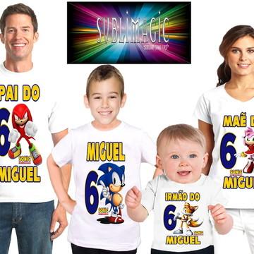 Kit 4 Camisetas Sonic