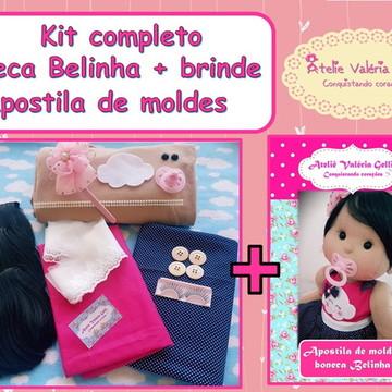 Kit completo para confecção boneca Belinha + brinde apostila
