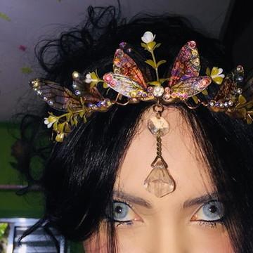Coroa asas de fada com cristais swarosvki