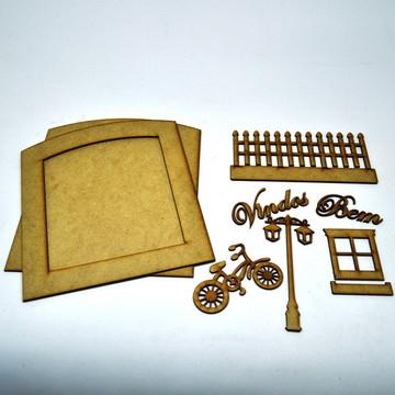 Kit Bem-Vindos com várias peças em MDF