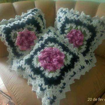 Capa de almofada crochê barroco