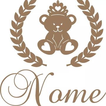 Painel De Parede Ursa Princesa C/ Ramos E Nome Mdf Cru