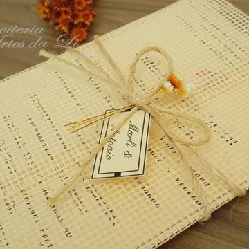 Convite Casamento rustico Talagarça