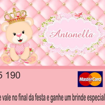 Cartão Vale Brinde Ursinha Princesa