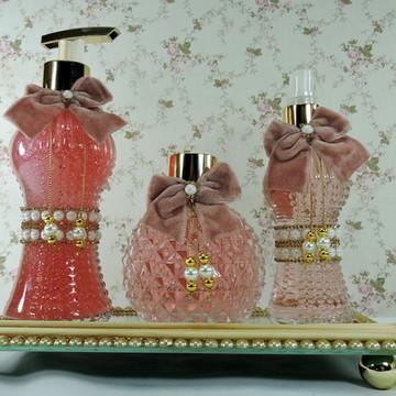 Kit Luxo Rosê Lavabo Banheiro Aroma Spray Difusor Bandeja