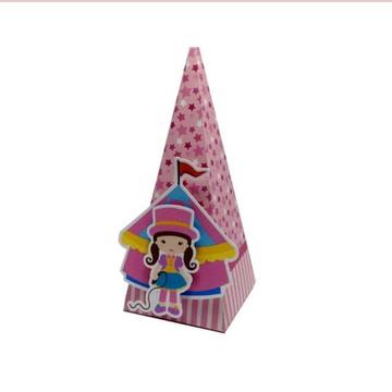 Caixa Cone 2 apliques 3D Circo menina