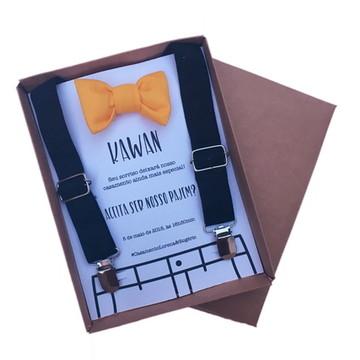 Caixa convite pajem com suspensório e gravata borboleta