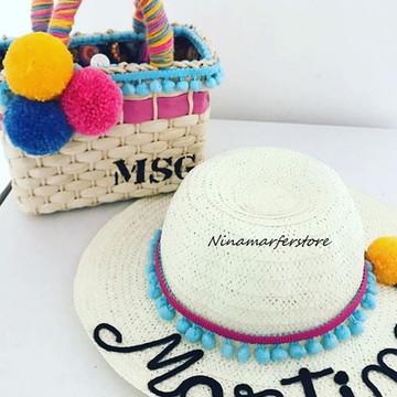 Kit infantil de chapéu e bolsa de palha customizados