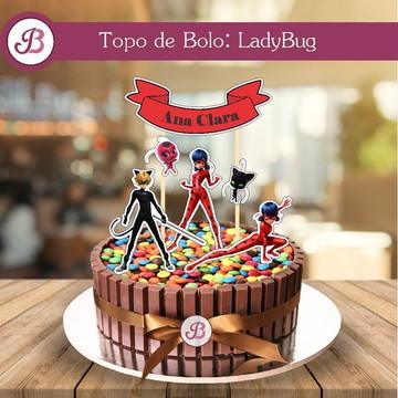 Topo de Bolo Digital - LadyBug
