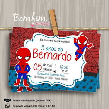 Convite Digital Homem Aranha Cute