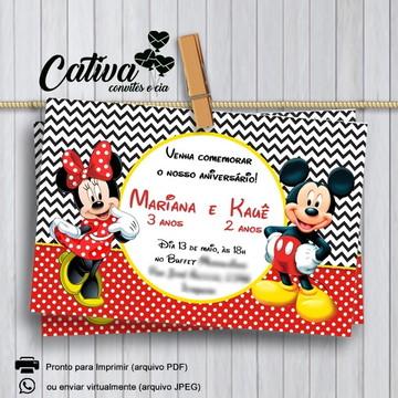 Convite Digital Mickey e Minnie