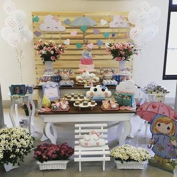 Mesa decorada Chuva de Amor