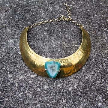 Colar Gargantilha de Bronze com Pedra Natural Druza de Agata