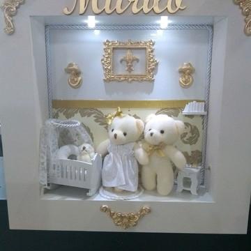 Quadro de maternidade família Urso