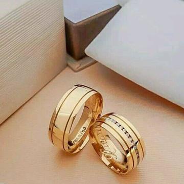Par de Aliança 7mm Prata banhada ouro