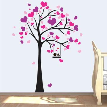 Árvore Adesivo Parede Corações Amor Menina Coração