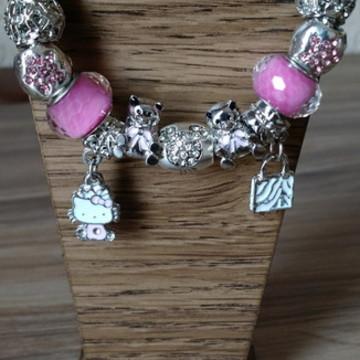 Pulseira Estilo Pandora Hello Kitty e os Ursinhos Rosa