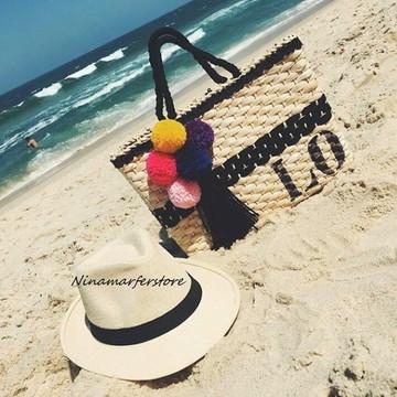 Kit chapéu panamá e bolsa de palha customizados