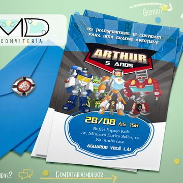 Convite Transformers Com Envelopes