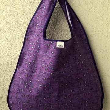 sacola ecobag em tecido roxa penas de pavao