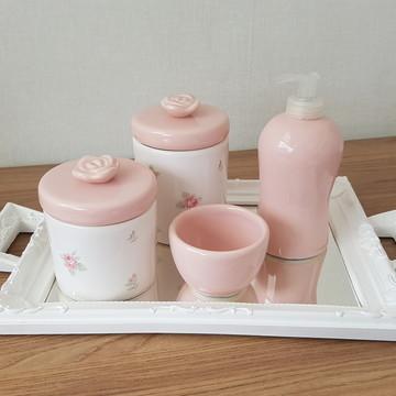 Kit Higiene Floral Rosa