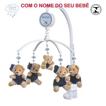 Móbile Berço Musical Giratório Ursinho Azul Marinho Menino