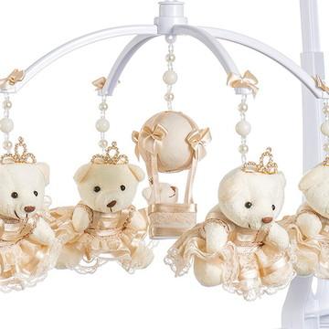 Móbile de Berço Musical Giratório Ursa e balão Creme Menina