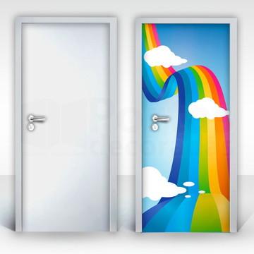 Adesivo para Porta – Nuvens Arco Iris