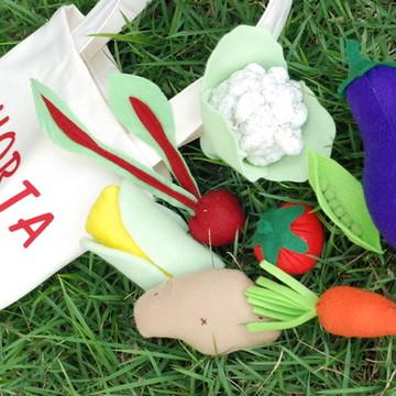 Hortinha - Bolsa com legumes de feltro