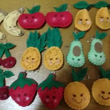 Chaveiro de Feltro - Carinhas de Frutas