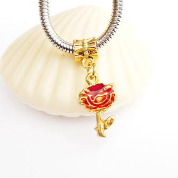 Pingente ROSA FLOR Vermelha banhado ouro