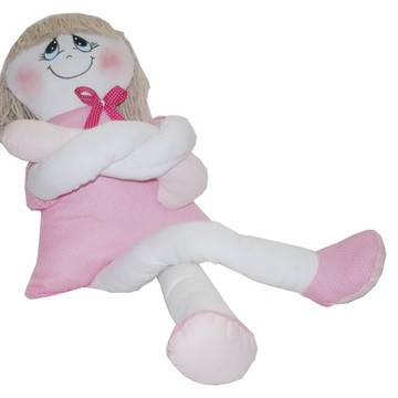 Boneca de Pano Rosa e Branca Pernuda Grande
