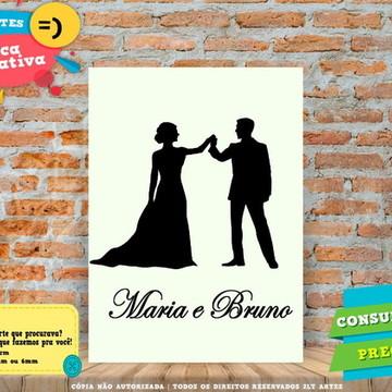 Placa Decorativa - Personalizada com nome - Casamento