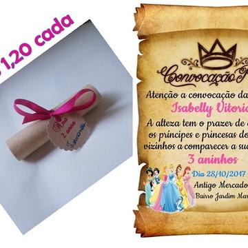 Convite de aniversário Pergaminho Princesas